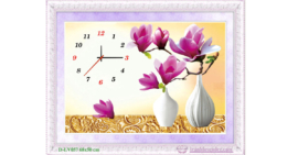 Tranh đính đá LV057 Đồng hồ hoa ngọc lan tím 68x50