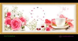 Tranh đính đá LV074 Đồng hồ hoa trà đẹp 121x50