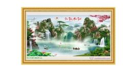 Tranh đính đá LV189 Lưu thủy sinh tài 180x95