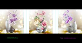 Tranh đính đá LV194 Bình hoa khoe sắc 148x50