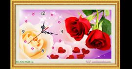 Tranh đính đá LV216 Đồng hồ hoa hồng đỏ 75x45