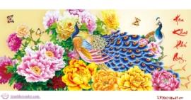 Tranh thêu chữ thập Lavender LV3063 Hoa khai phú quý 88x43