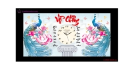 Tranh thêu chữ thập Lavender LV3155 Đồng hồ Vợ chồng 62x35