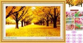 Tranh đính đá Mùa thu lá vàng LV390 kích thước lớn nhỏ 126x75 cm