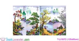 [T-LV3072] Tranh thêu chữ thập Tứ Quý Xuân-Hạ-Thu-Đông (kích thước trung bình 135x83cm)