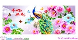 [T-LV3192] Tranh thêu chữ thập Hoa Khai Phú Quý (kích thước nhỏ 93x43cm)