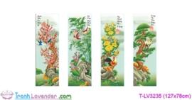 [T-LV3235] Tranh thêu chữ thập Mai Trúc Cúc Tùng (kích thước trung bình 127x78cm)