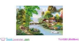[T-LV3283] Tranh thêu chữ thập Ngôi nhà hạnh phúc (kích thước trung bình 90x58cm)