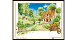 Tranh đính đá Ngôi nhà hạnh phúc (khổ nhỏ) ✅51x38 cm -️ VS082