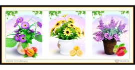Tranh đính đá Bình hoa khoe sắc (bộ 3) (khổ trung bình) ✅117x50 cm -️ VS103