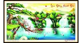 Tranh đính đá Lưu Thủy Sinh Tài (khổ lớn) ✅160x85 cm -️ VS143