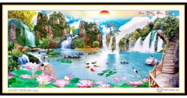 Tranh đính đá Sơn Thủy Hữu Tình (khổ rất lớn) ✅200x90 cm -️ VS187
