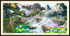 Tranh đính đá Lưu Thủy Sinh Tài (khổ rất lớn) ✅200x95 cm -️ VS194