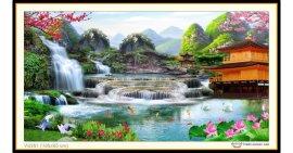 Tranh đính đá Lưu Thủy Sinh Tài (khổ lớn) ✅160x85 cm -️ VS201