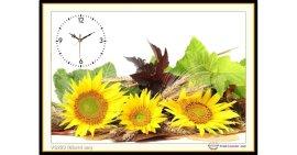 Tranh đính đá Đồng hồ hoa hướng dương (khổ nhỏ) ✅65x44 cm -️ VS223
